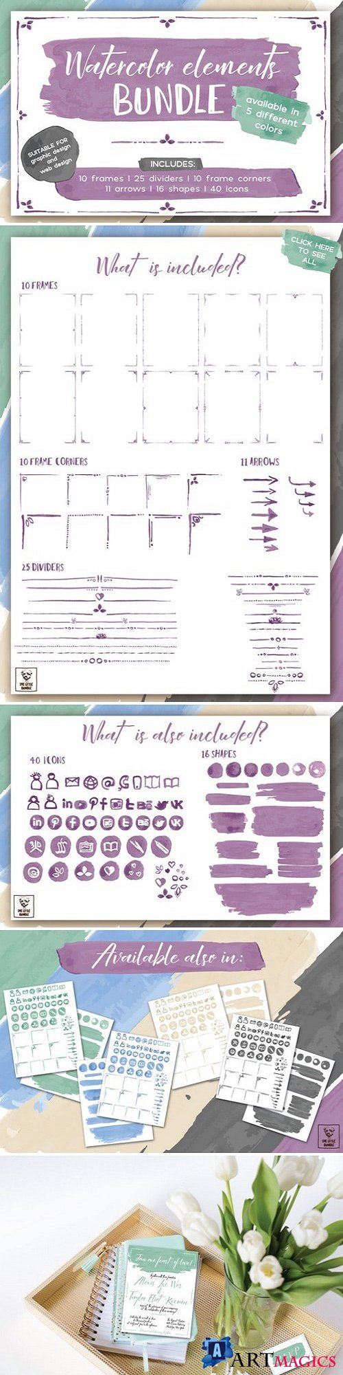 Watercolor Elements Bundle 1569078