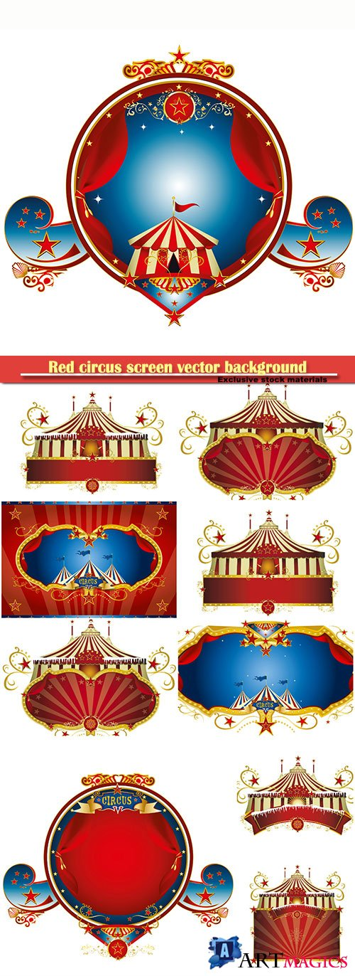 Red circus screen vector background