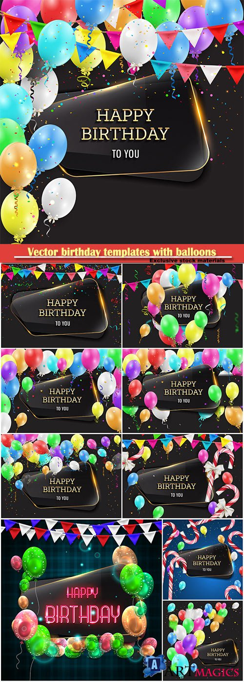 Vector birthday templates with balloons