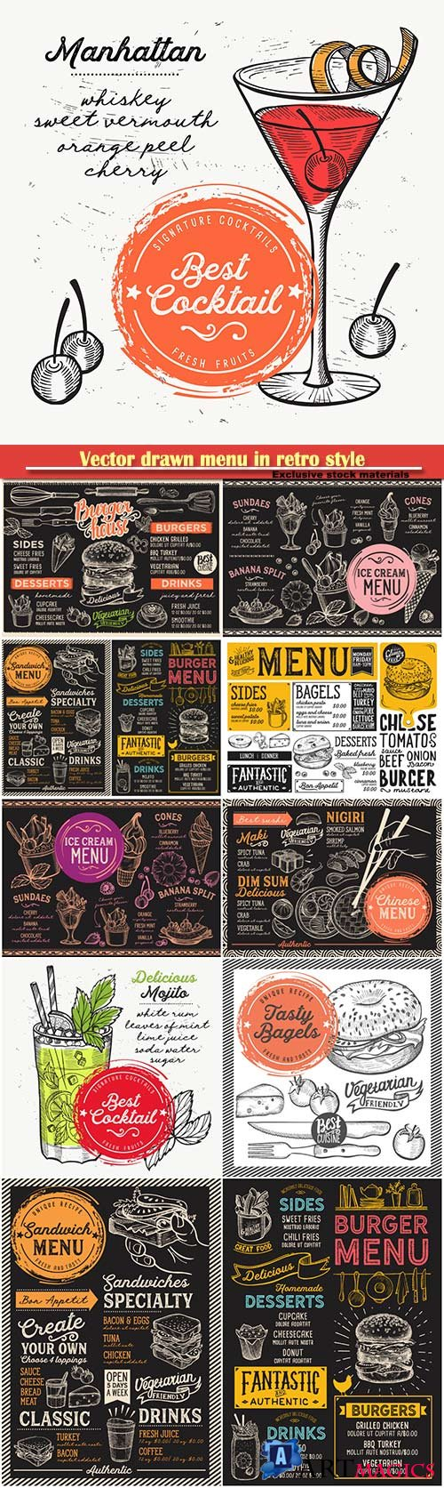 Vector drawn menu in retro style, fast food, sushi, ice cream, cocktails
