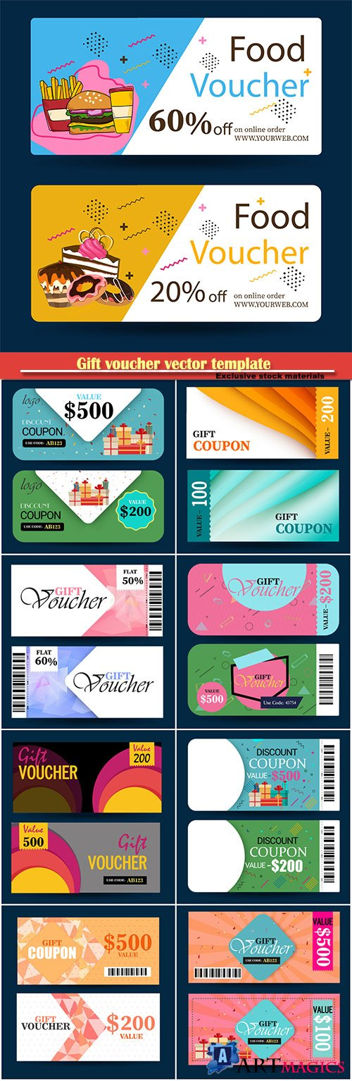 Gift voucher vector template, certificate, discount card, or coupon template