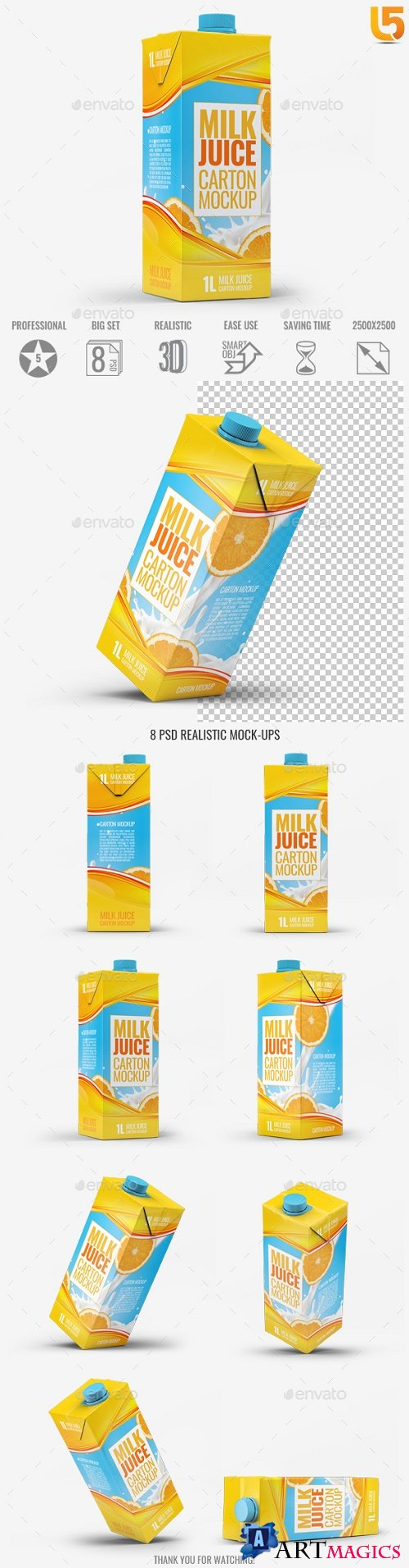 Milk or Juice Carton Mock-Up v1 - 21790758