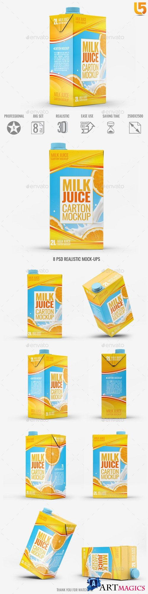 Milk or Juice Carton Mock-Up v2 - 21791146