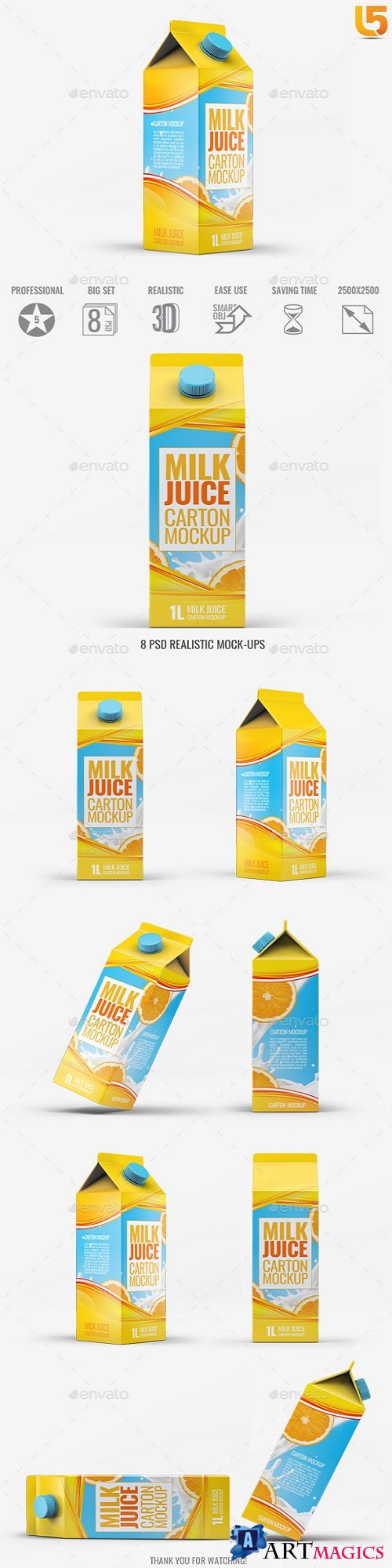 Milk or Juice Carton Mock-Up v3 - 21791427