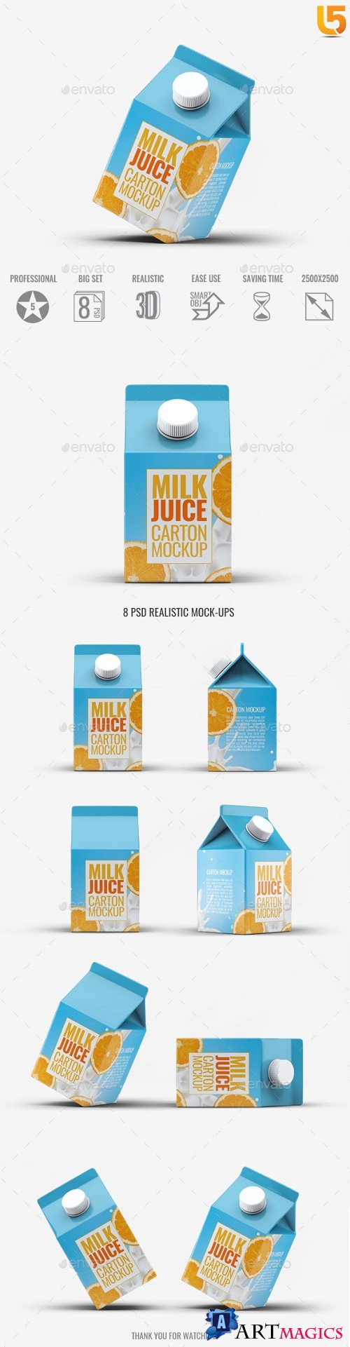 Milk or Juice Carton Mock-Up v4 - 21791464