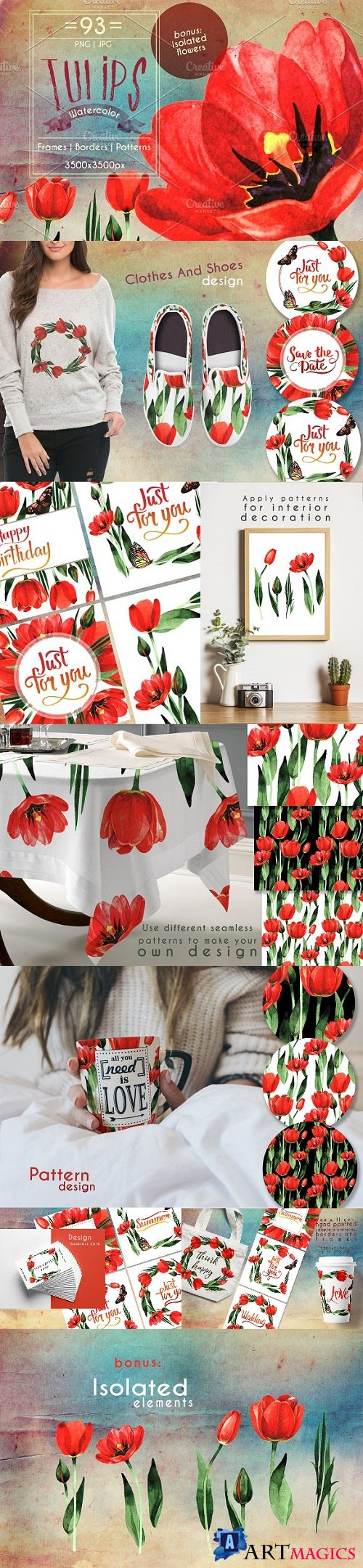 Amazing Tulips PNG Watercolor Set - 2423099