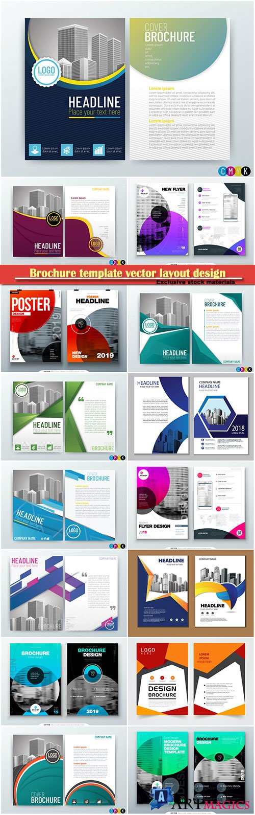 Brochure template vector layout design, corporate business annual report, magazine, flyer mockup # 167