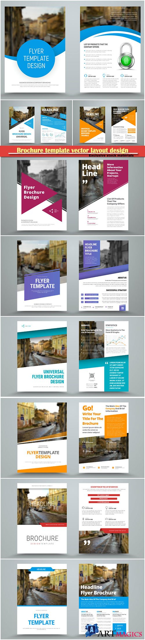 Brochure template vector layout design, corporate business annual report, magazine, flyer mockup # 168