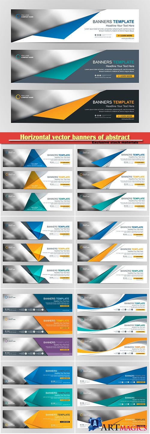 Horizontal vector banners of abstract design