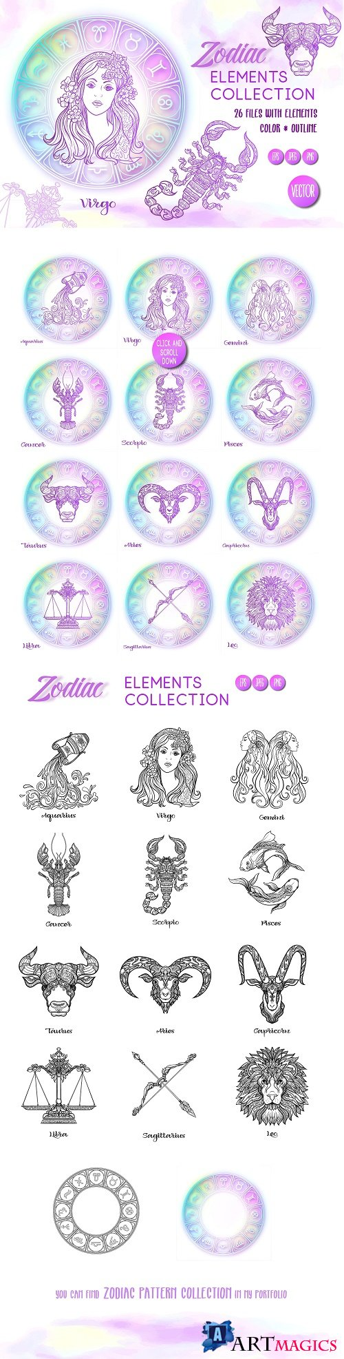 Zodiac Elements - Colored & Outline 2443993