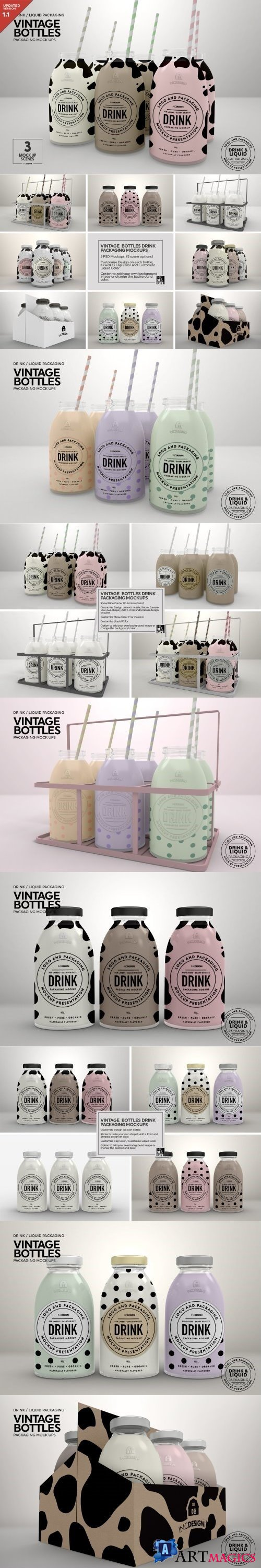 Vintage Bottles Packaging Mockups 908479