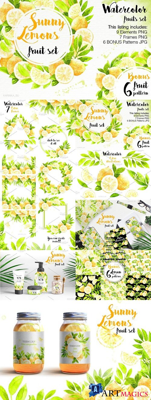 Watercolor Lemons Set illustrations 1546459