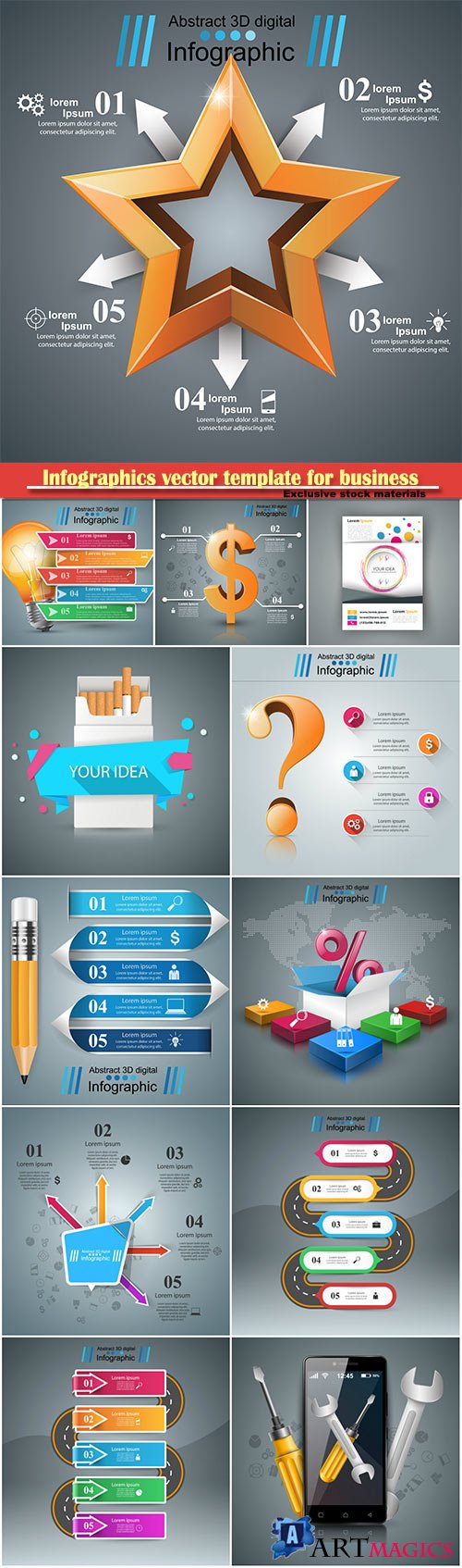 Infographics vector template for business presentations or information banner # 65