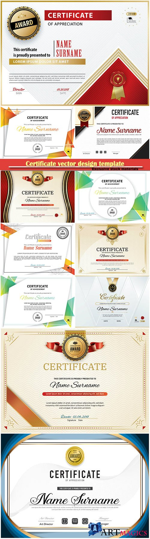 Certificate and vector diploma design template # 67