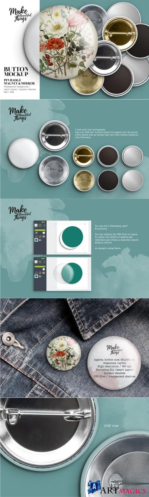 Isolated Pin Button Mockup #1818 - 2448349