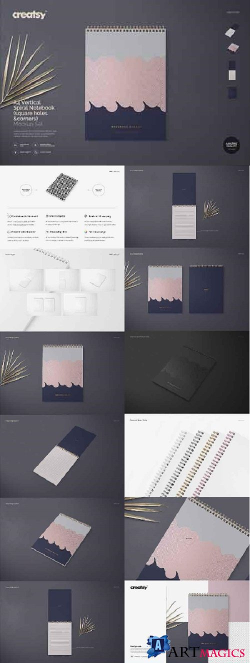 A4 Vertical Spiral Notebook Mockup 2509062