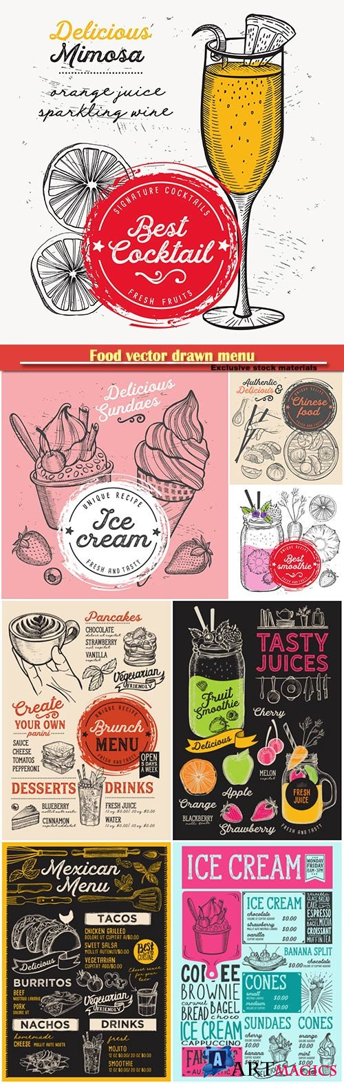 Food vector drawn menu, fast food, ice cream, desserts, mexican food