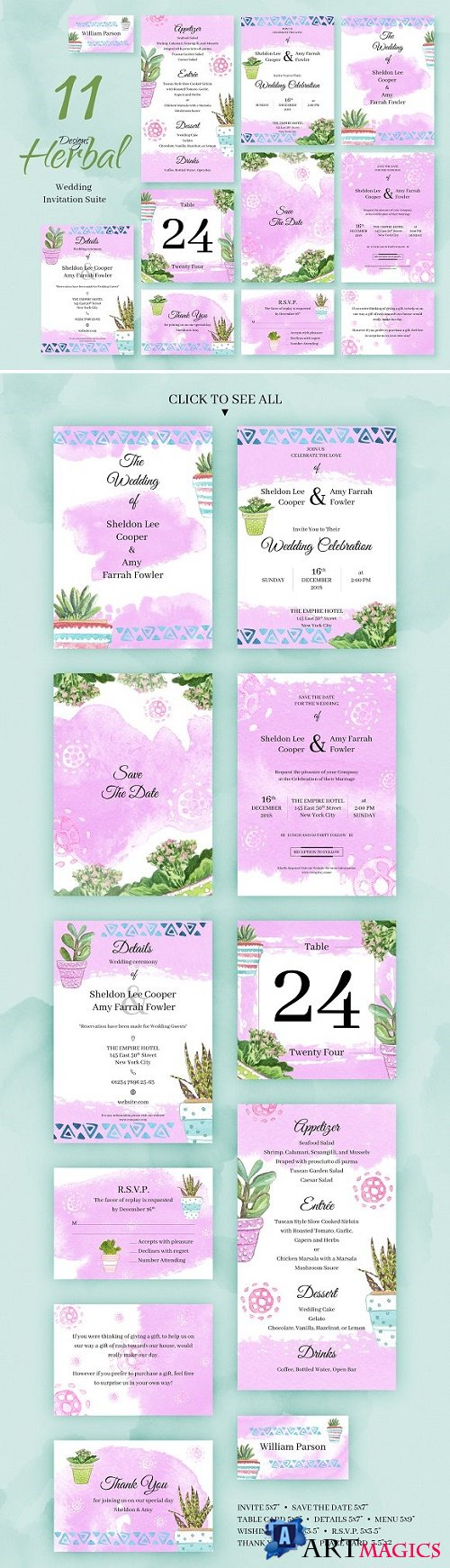 Herbal. Wedding Invitation Package 2219577