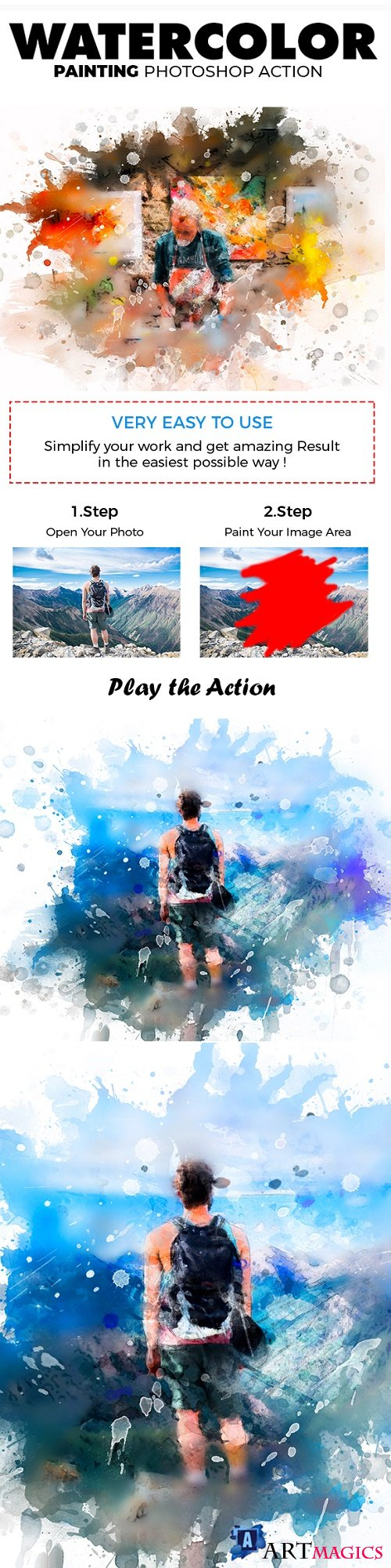 Watercolor Painting Photoshop Action - 21875063