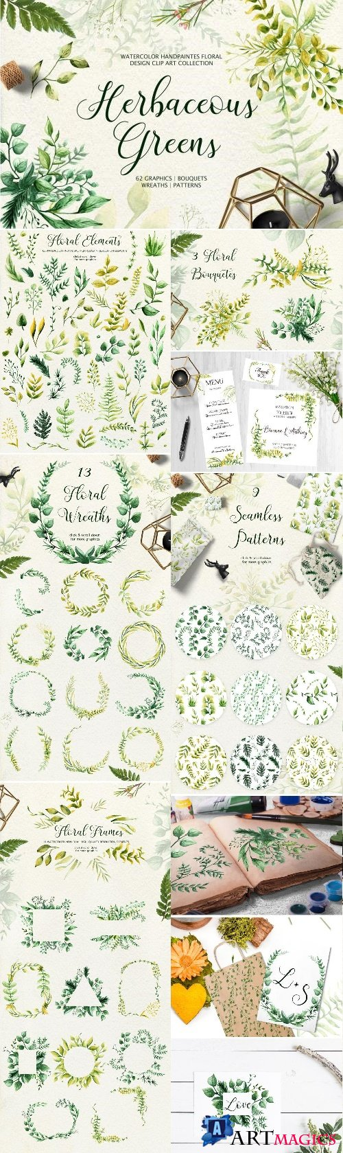 Herbaceous Greens-watercolor set - 2533494