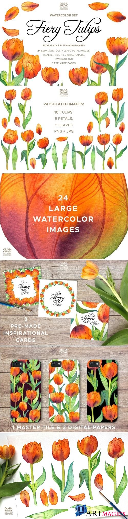 Fiery Tulips Watercolor Collection - 2394687