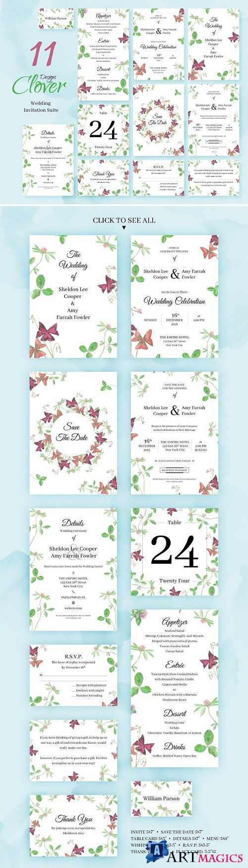 Clover. Wedding Invitation Package 2266511