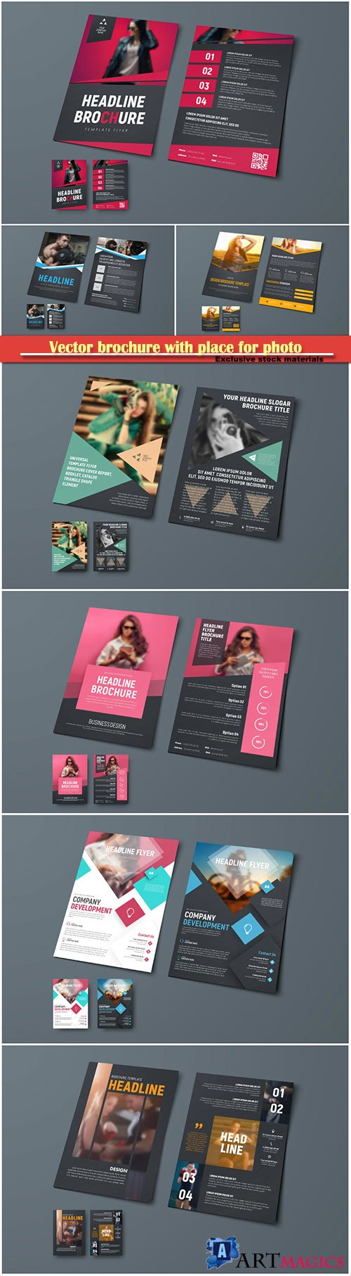 Vector template of brochure with place for photo, design flyer for business, advertising and printing