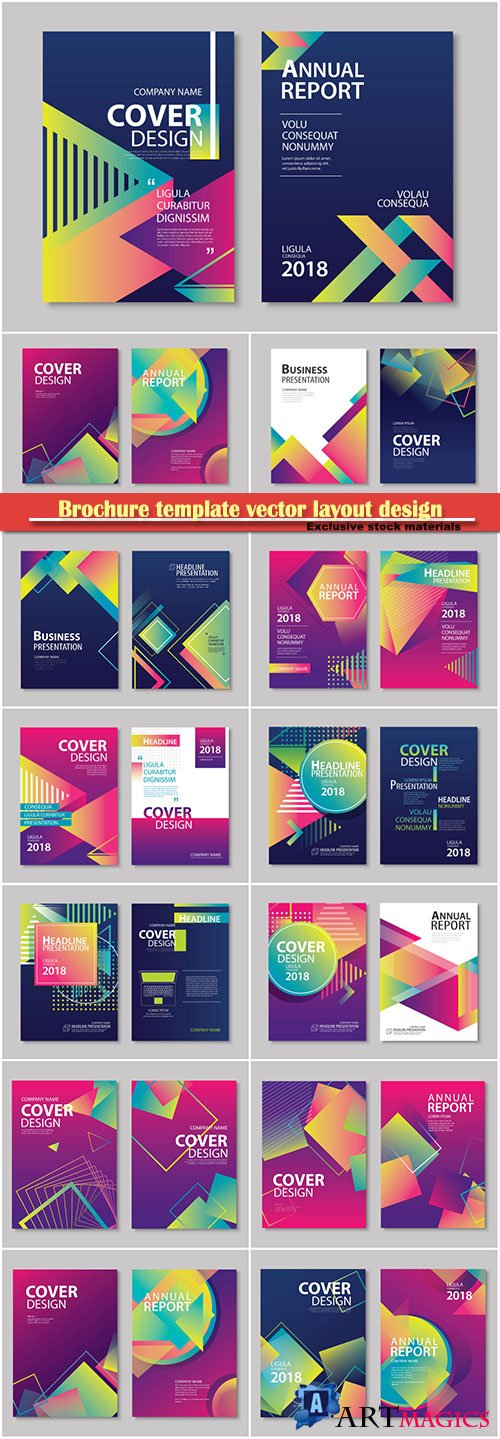 Brochure template vector layout design, corporate business annual report, magazine, flyer mockup # 173