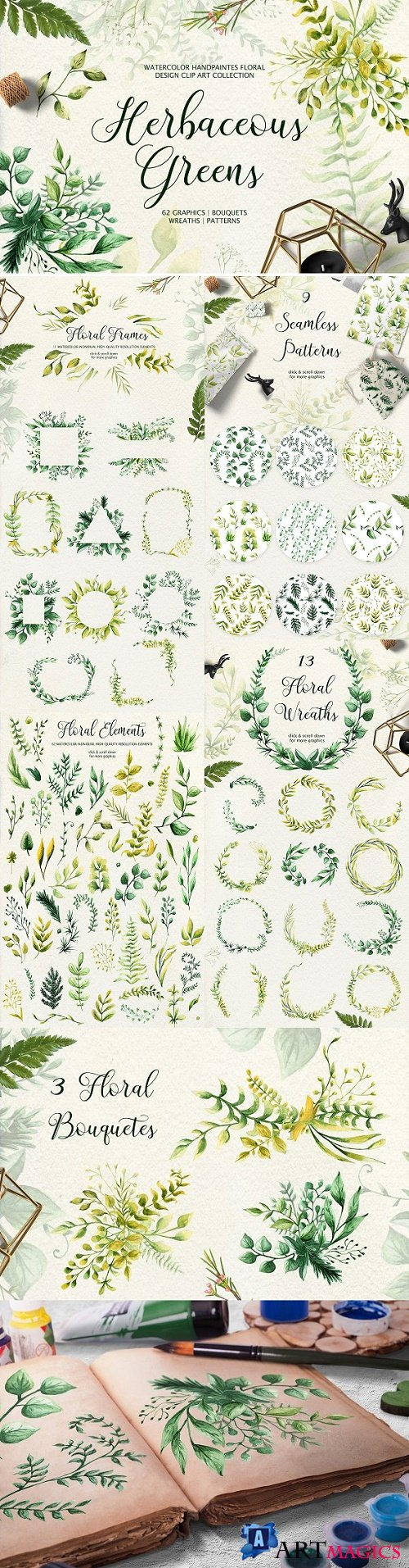 Herbaceous Greens-watercolor set 2534083