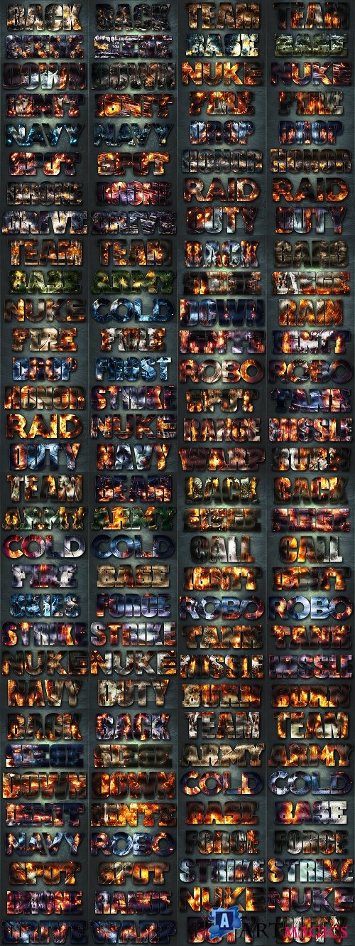 128 Extreme War Layer Styles Bundle