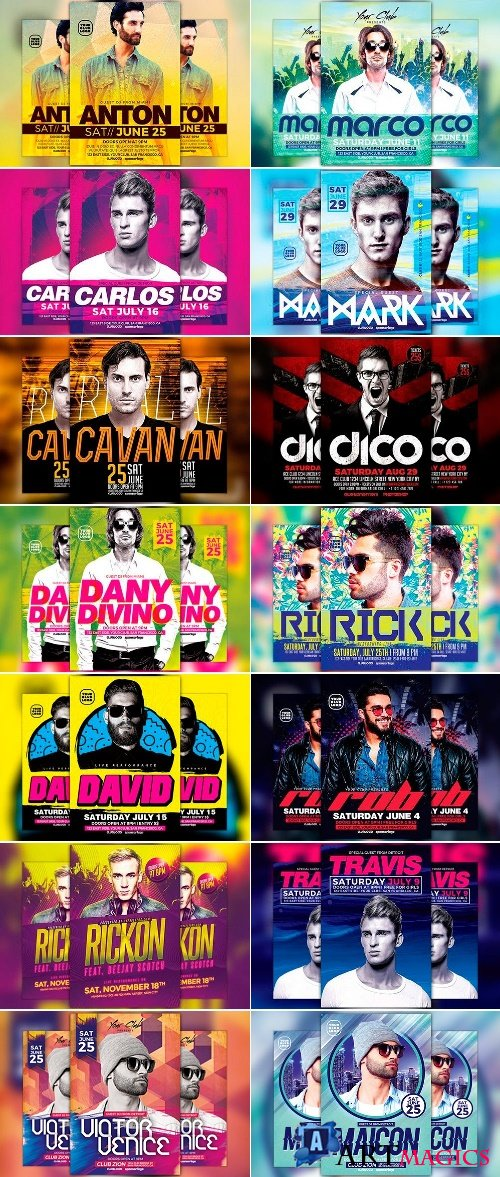 DJ Club Party Flyer Template Bundle