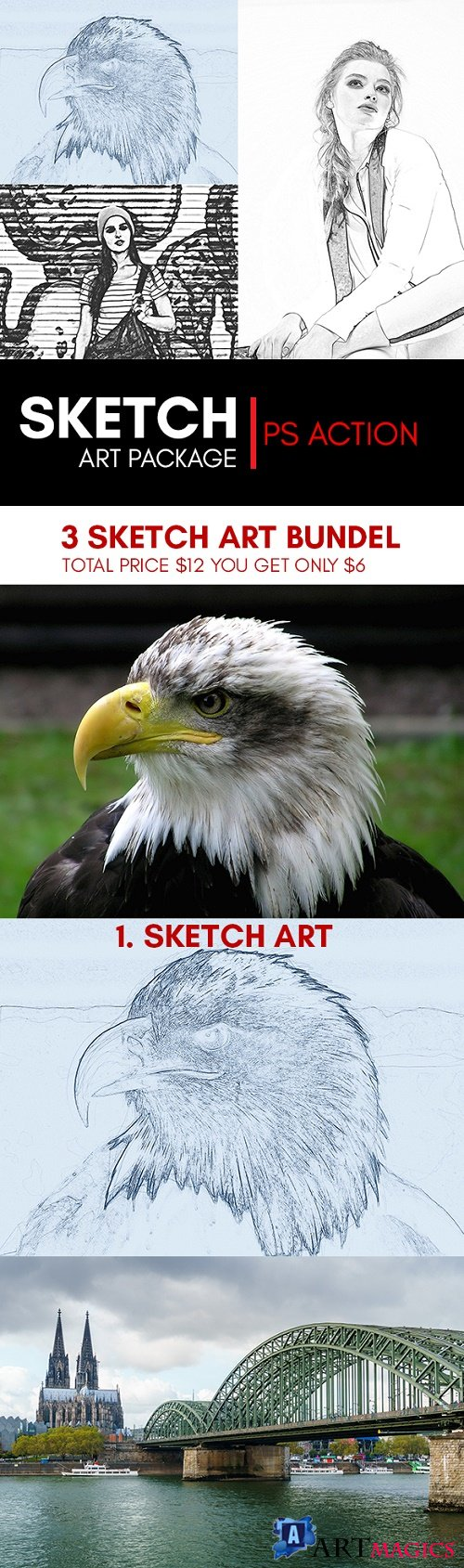 3 Sketch Art Bundle Photoshop Action 22035317