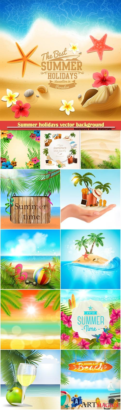 Summer holidays vector background, tropical beach, sea, fresh cocktails, sand # 7