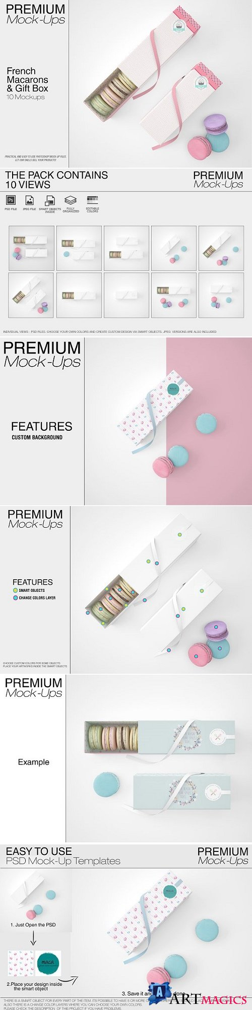 French Macarons & Gift Box Mockup Pack 22050119