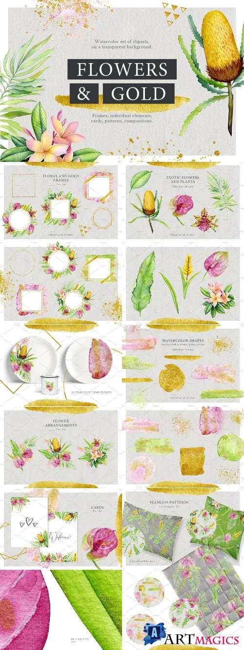 Watercolor stains & tropical flowers - 2580670