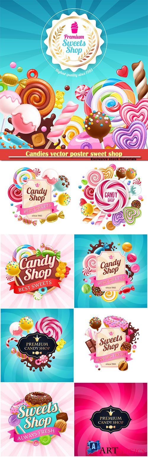 Candies vector poster sweet shop, background with sweets - lollipops, cake pops, spiral candy, chocolate bar and donuts on shine background