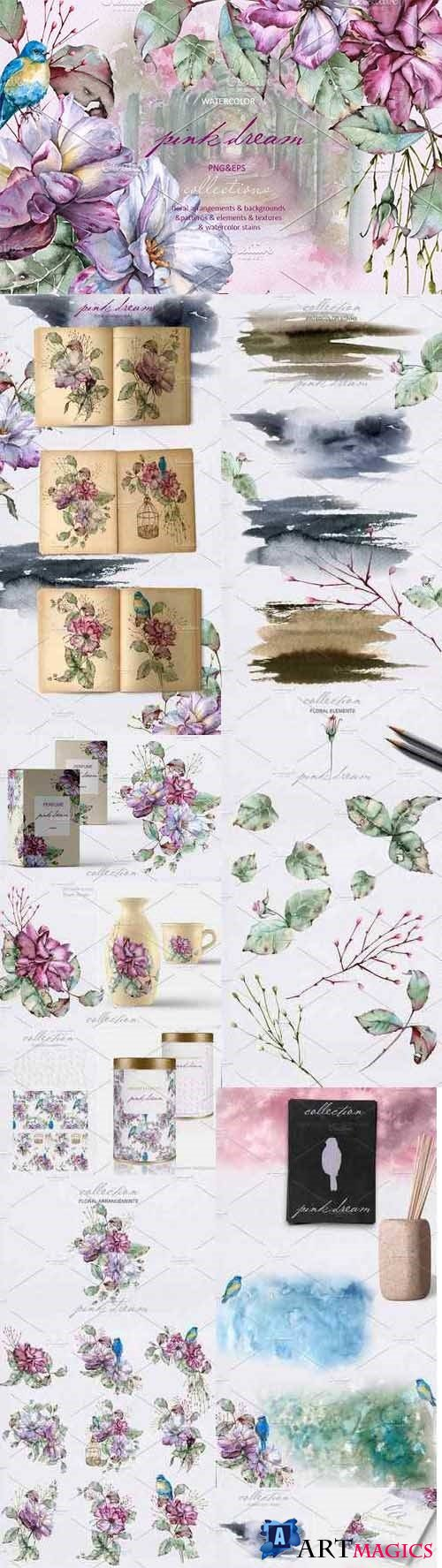 Pink dream Watercolor set - 2737793