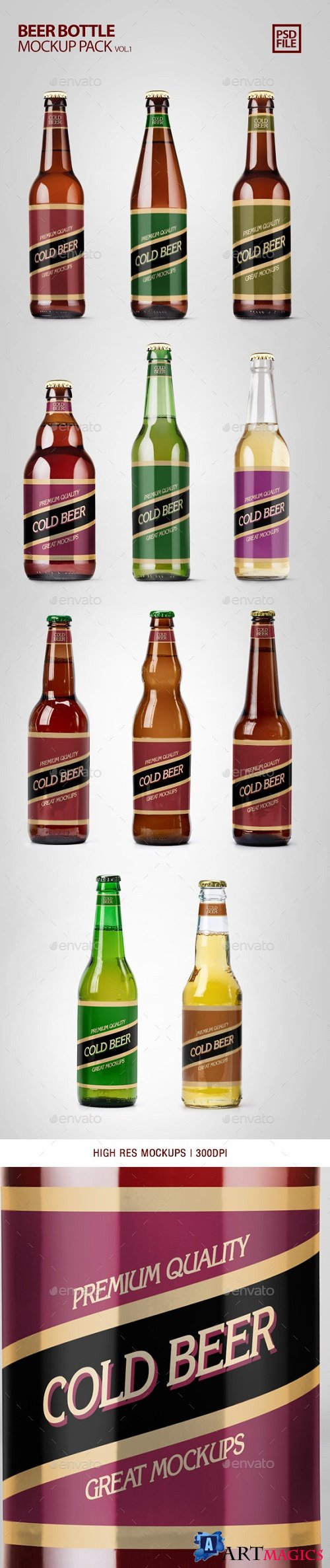 Beer Bottle Mockup Pack Vol.1 | Food and Drink