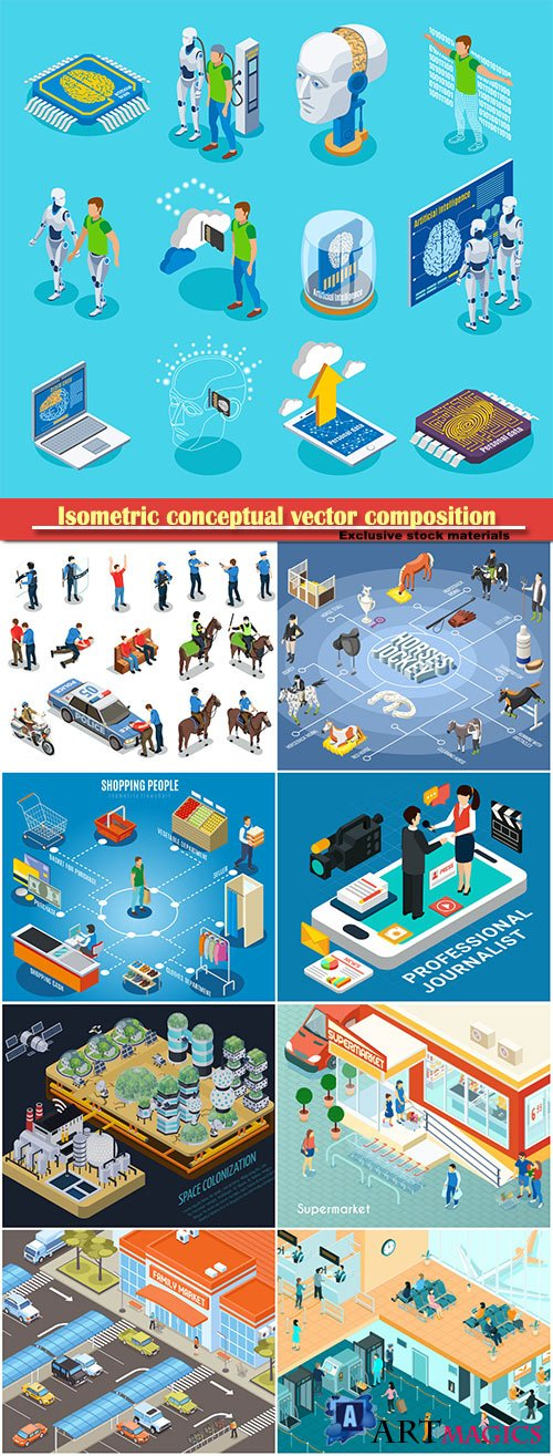 Isometric conceptual vector composition, infographics template, horizontal banners set # 15