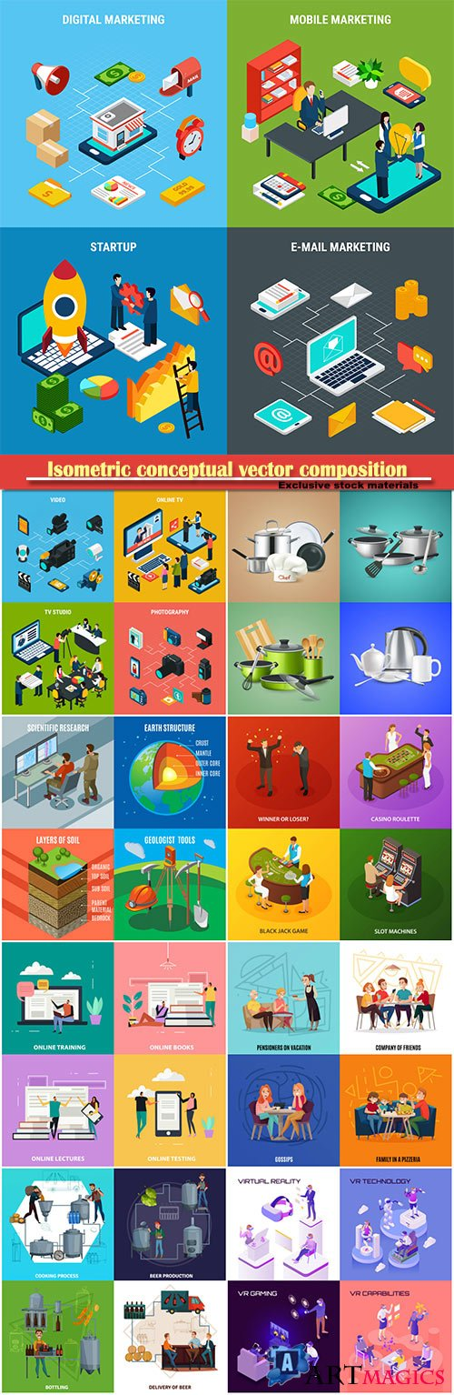 Isometric conceptual vector composition, infographics template, horizontal banners set # 14