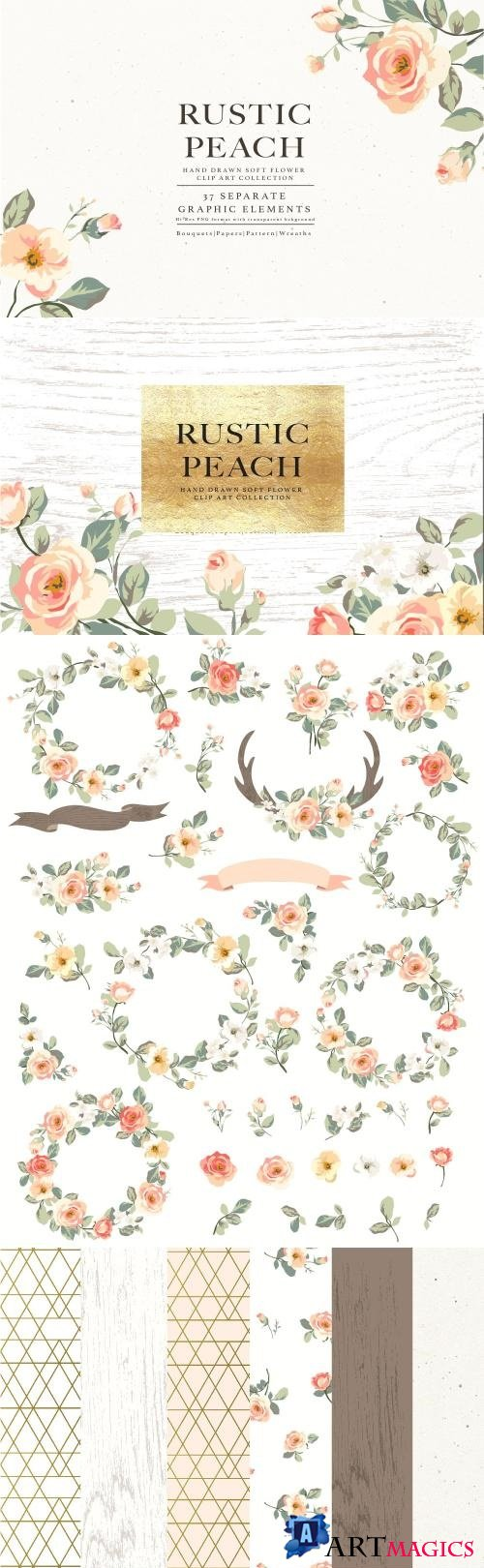 Flower Collection-Rustic Peach - 1294773