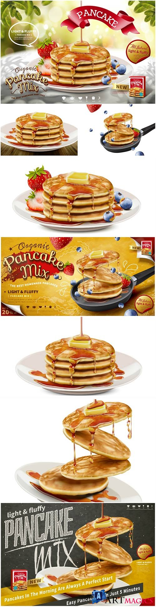 Delicious fluffy pancake ads in 3d vector illustration