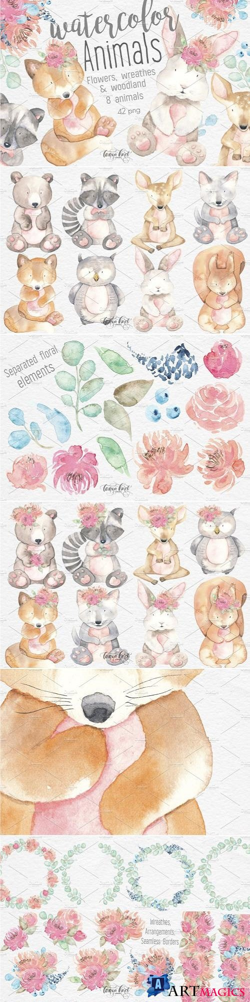 Watercolor Animals Flowers Clipart - 2540165