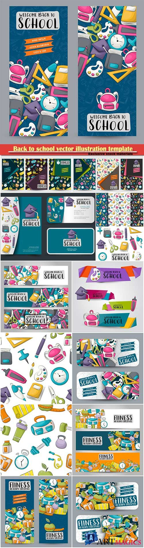 Back to school vector illustration, fitness and healthy lifestyle