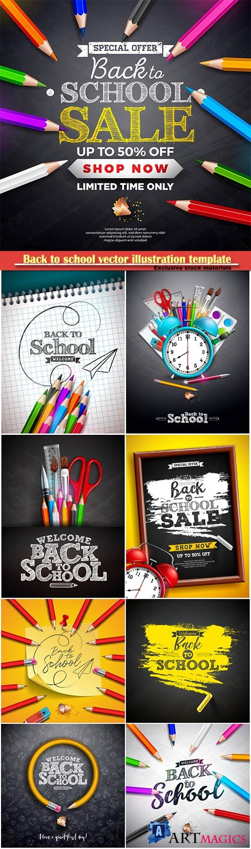 Back to school vector illustration template # 14