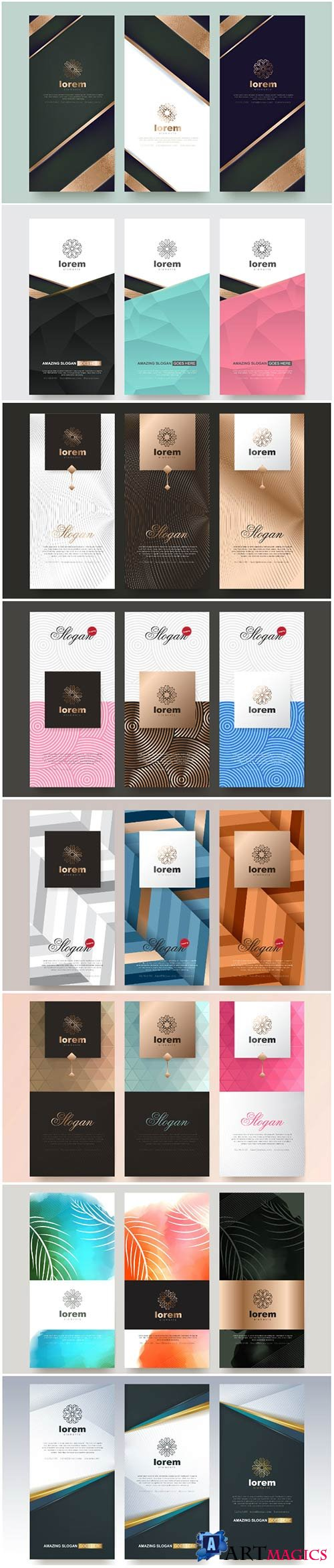 Stylish vector templates for packaging