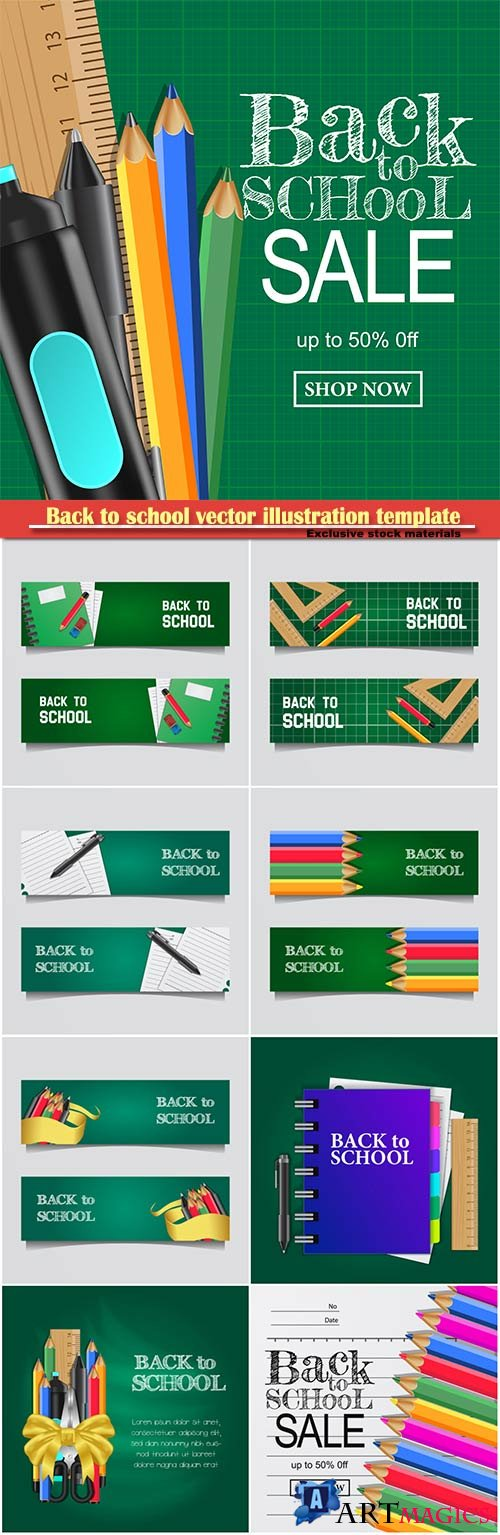 Back to school vector illustration template # 16