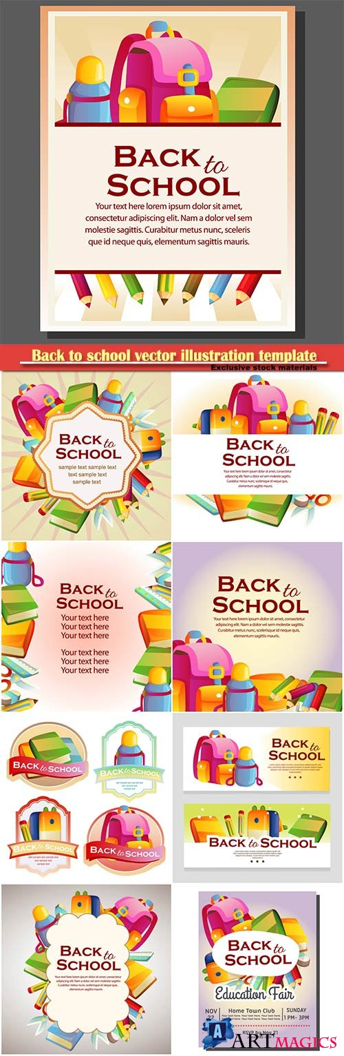 Back to school vector illustration template # 12