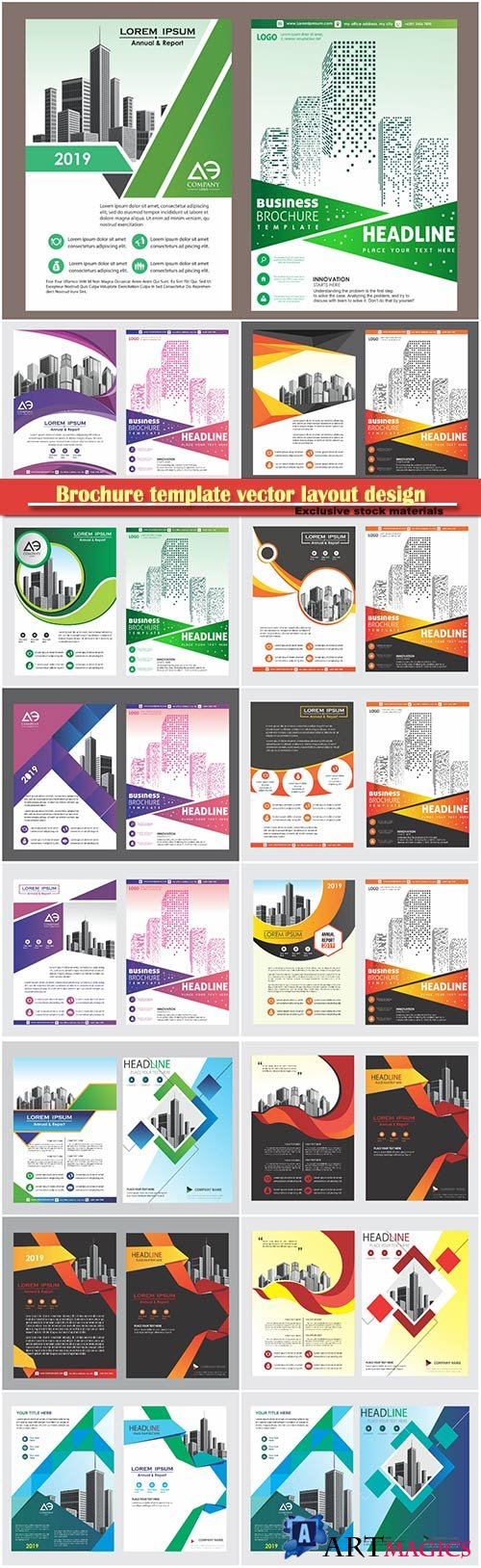 Brochure template vector layout design, corporate business annual report, magazine, flyer mockup # 209