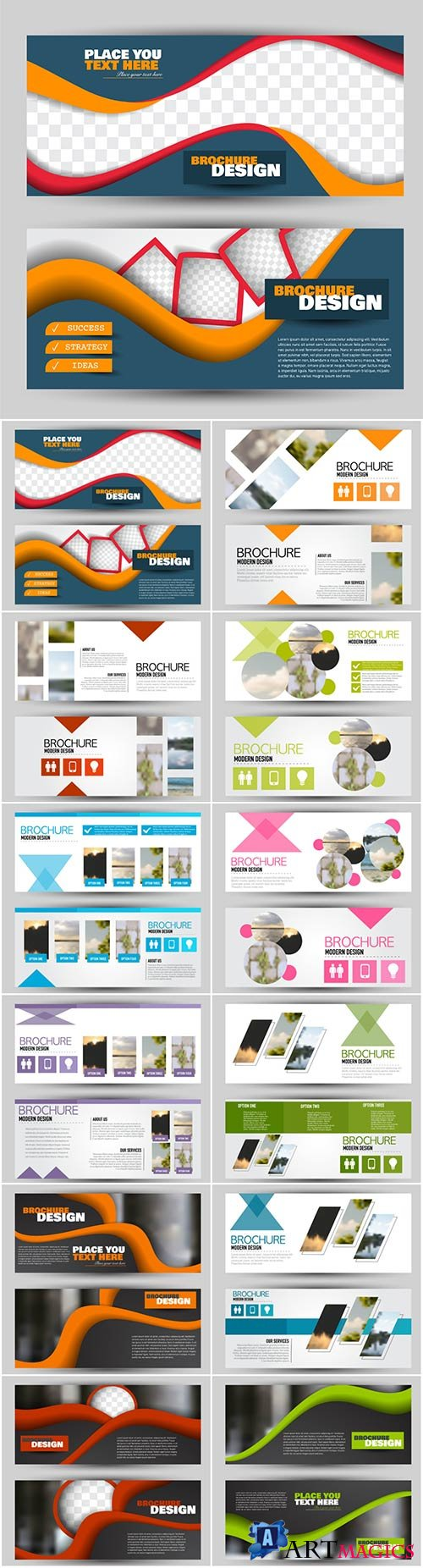 Set of banners for web and advertisement print out, vector horizontal flyer handout design # 6